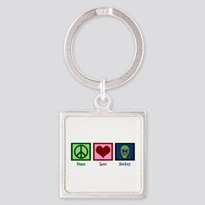 Peace Love Hockey Square Keychain