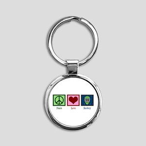 Peace Love Hockey Round Keychain