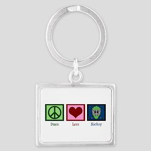Peace Love Hockey Landscape Keychain