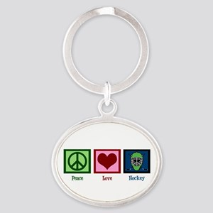 Peace Love Hockey Oval Keychain