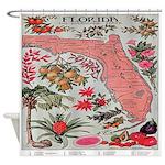 Vintage Florida Fruit Flower Map Shower Curtain