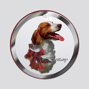Brittany Spaniel Christmas Round Ornament
