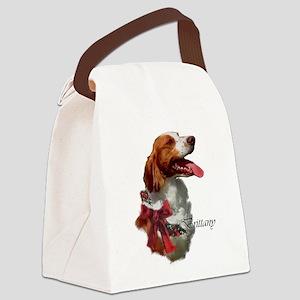 Brittany Spaniel Christmas Canvas Lunch Bag
