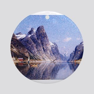 A Norwegian Fjord Scene Ornament (Round)
