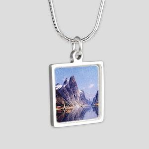 A Norwegian Fjord Scene Silver Square Necklace