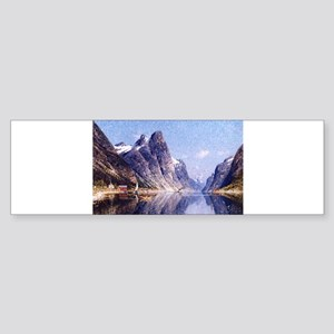 A Norwegian Fjord Scene Sticker (Bumper)