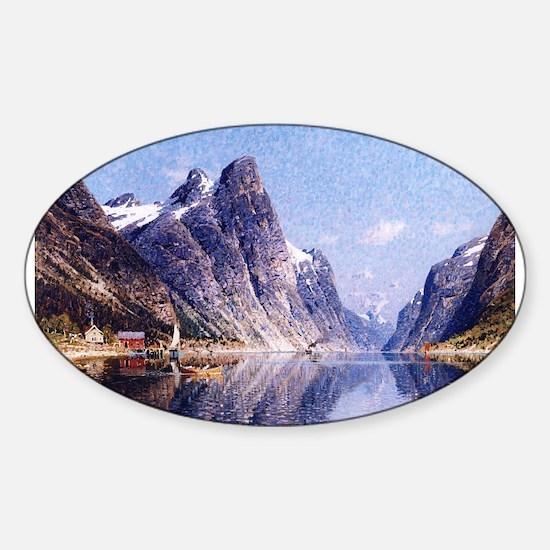 A Norwegian Fjord Scene Sticker (Oval)