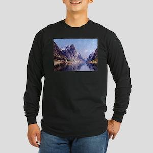 A Norwegian Fjord Scene Long Sleeve Dark T-Shirt