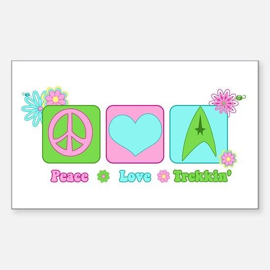 Peace Love Trekkin' Sticker (Rectangle)