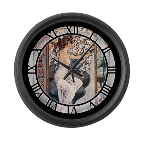 Vintage Music Art Nouveau Tango Large Wall Clock