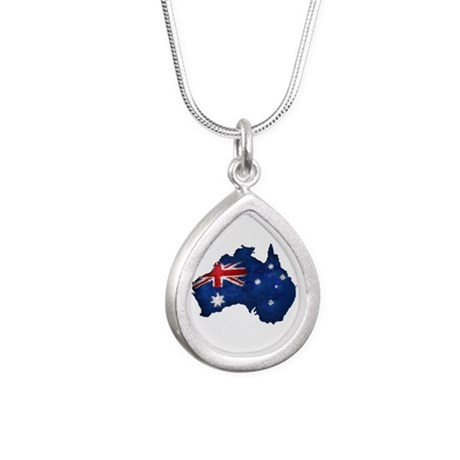 Aussie pride Silver Teardrop Necklace