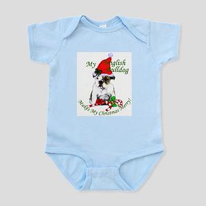 English Bulldog Christmas Baby Light Bodysuit