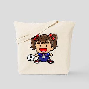 Baby Girl Soccer Player Tote Bag