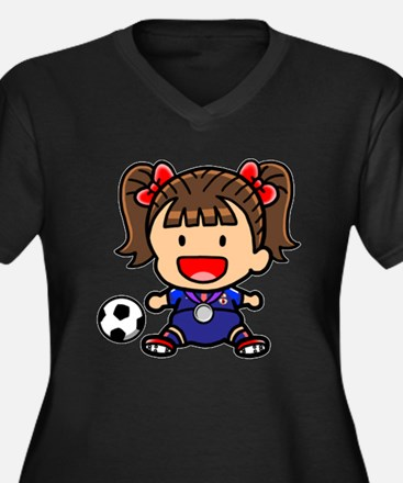 Baby Girl Soccer Player Women's Plus Size V-Neck D