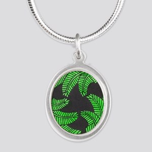 """Forest Ferns"" Silver Oval Necklace"