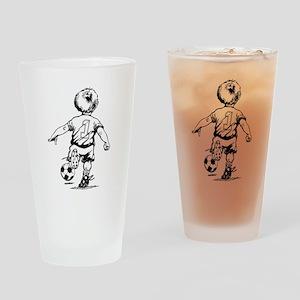 Little Soccer Player Drinking Glass