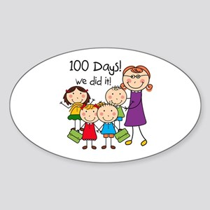 Kids and Female Teacher 100 Days Sticker (Oval)