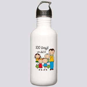 Kids and Male Teacher 100 Days Stainless Water Bot