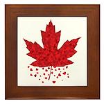 Red Maple Leaf Hearts Framed Tile