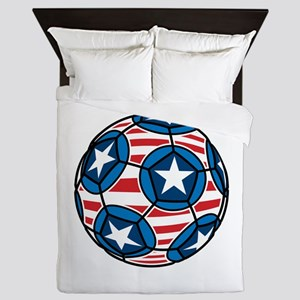 Red White And Blue Soccer Ball Queen Duvet