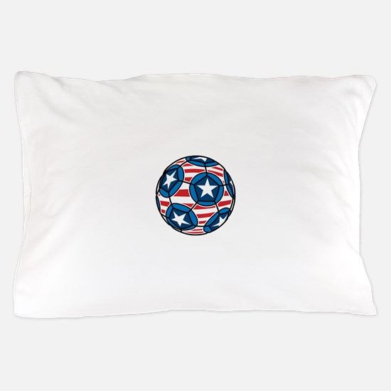 Red White And Blue Soccer Ball Pillow Case