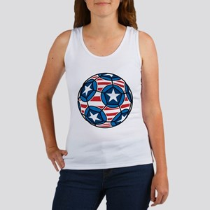 Red White And Blue Soccer Ball Women's Tank Top