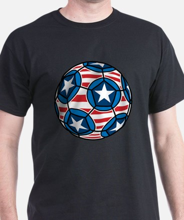 Red White And Blue Soccer Ball T-Shirt