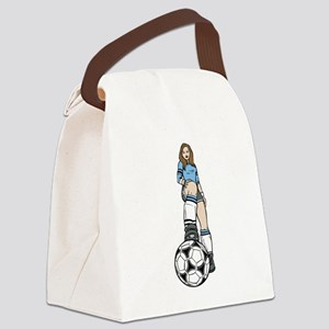 Female Soccer Player Canvas Lunch Bag