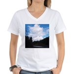 Eel River with Clouds Women's V-Neck T-Shirt