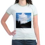 Eel River with Clouds Jr. Ringer T-Shirt