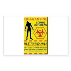 Zombie Outbreak Sticker (Rectangle 50 pk)