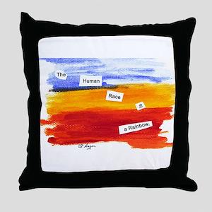 Human Race Is A Rainbow Throw Pillow