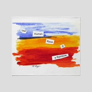 Human Race Is A Rainbow Throw Blanket