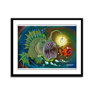 Angler Fish Framed Panel Print