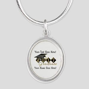 Graduate Black 2017 Silver Oval Necklace
