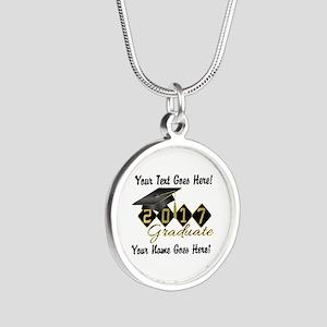 Graduate Black 2017 Silver Round Necklace
