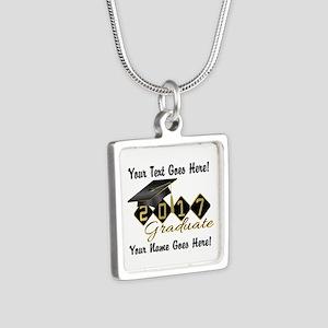 Graduate Black 2017 Silver Square Necklace