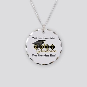Graduate Black 2017 Necklace Circle Charm