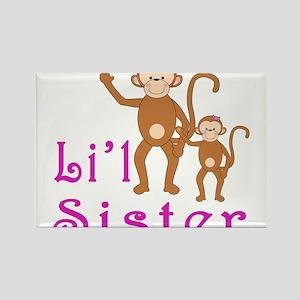 Little Sister Cute Monkeys 2 Rectangle Magnet