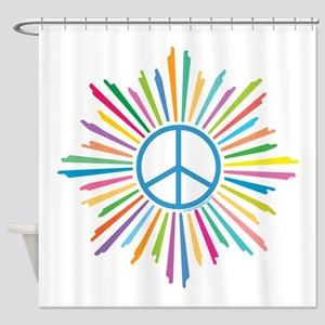 Peace Symbol Star Shower Curtain