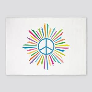 Peace Symbol Star 5'x7'Area Rug