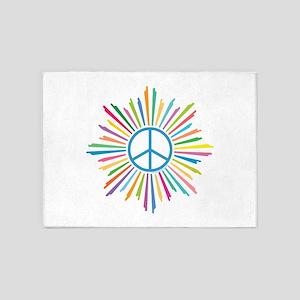 Peace Symbol Star 5'x7'Area Rug