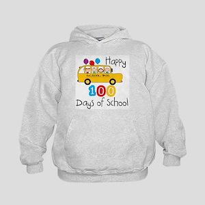 School Bus Celebrate 100 Days Kids Hoodie