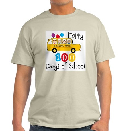School Bus Celebrate 100 Days Light T-Shirt
