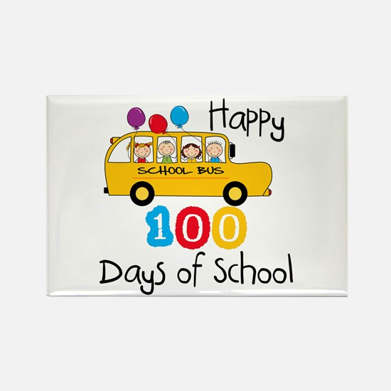 School Bus Celebrate 100 Days Rectangle Magnet