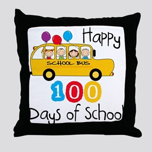 School Bus Celebrate 100 Days Throw Pillow