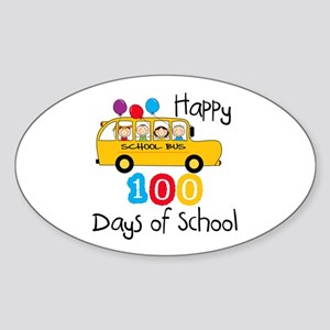 School Bus Celebrate 100 Days Sticker (Oval)