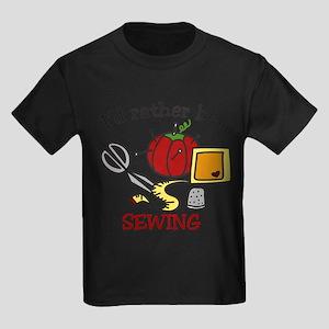 Rather Be Sewing Kids Dark T-Shirt