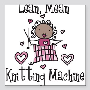 "Knitting Machine Square Car Magnet 3"" x 3"""