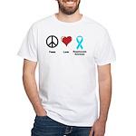 Peace, Love, Dysautonomia Awareness White T-Shirt